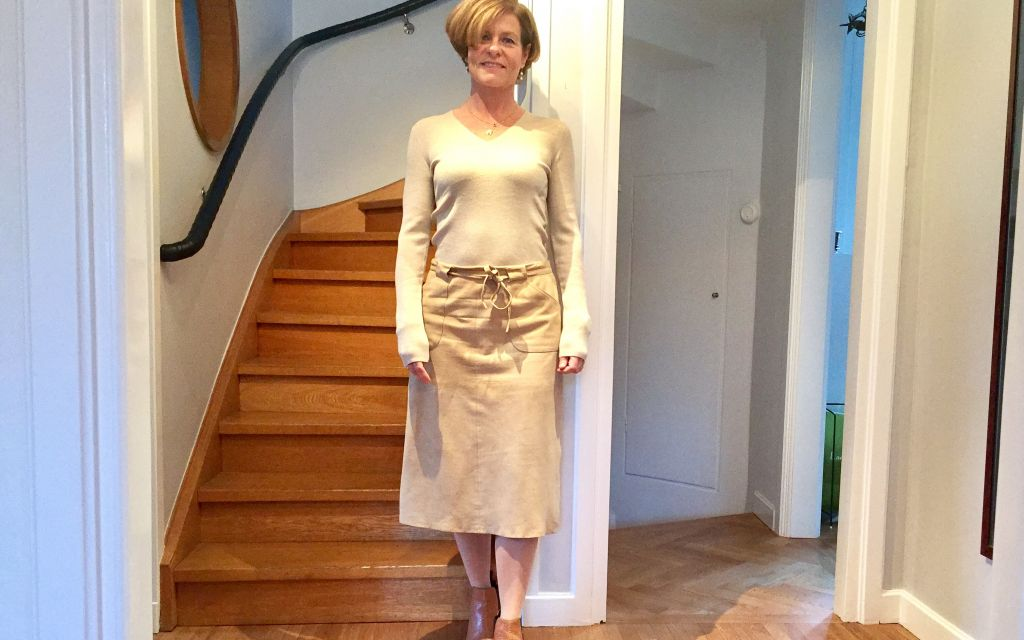 Reinventing the Suede Skirt With a Nude Knit